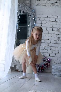 Ivory tutu skirt for kids, toddlers and newborns.  Tulle skirts are suitable for holidays, Birthdays and photo shoots.  You can choose the personalization option and I will embroider the name on the ribbon bow.  All materials are hypoallergenic. Skirts are soft and airy.  Your daughter will feel like a real Princess on any holiday. Little Girl Ballerina, Ballerina Birthday, Little Girl Outfits, Toddler Outfits, Grey Tulle Skirt, Tulle Skirts, Young Girl Fashion, Ballet Clothes, Skirts For Kids