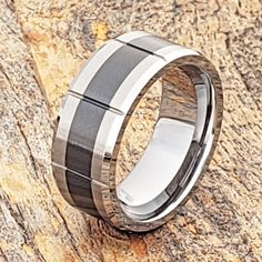 Male Engagement Black Ring, Personalized Curved Wedding Band, Black Promise Ring for Him, Couple Promise Rings, Mens Tungsten Wedding Band Promise Rings For Couples, Engagement Rings For Men, Black Tungsten Rings, Curved Wedding Band, Tungsten Wedding Bands, Wooden Rings, Black Rings, Virgo, Metals