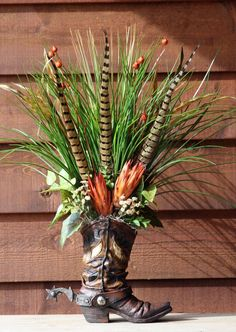 HANDMADE WESTERN FLORAL FLOWER ARRANGEMENT COWBOY BOOT HOME DECOR