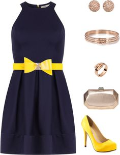 """""""Yellow/Navy/Rose Gold"""" by cupidsbeau on Polyvore"""