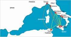 Ferry route Tunis-Italy