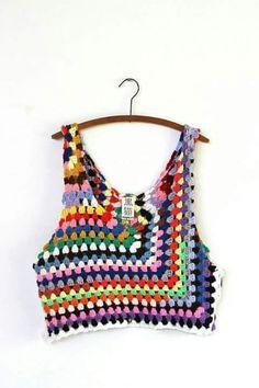 Crochet Top grungy knit crochet tank por napkinitems en Etsy More -