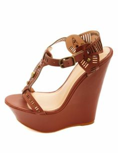 Studded Cut-Out T-Strap Wedge Sandals: Charlotte Russe
