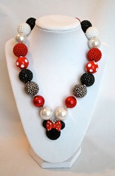 Minnie Mouse Disney Inspired Necklace - Bubblegum Bead Necklace, Chunky Bead Necklace, Polka Dots, Red and White, Mickey Mouse