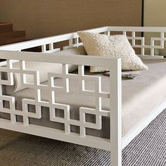 White Daybed with Geometric Design, Home Accessories, Site for DIY Furniture knock-offs. Even West Elm you say? Even West Elm! Furniture Projects, Home Projects, Diy Furniture, Furniture Design, Inexpensive Furniture, Furniture Websites, Furniture Dolly, Furniture Stores, Antique Furniture