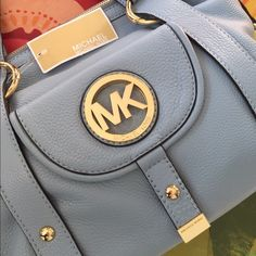 """Price lowered! Michael kors Fulton in pale blue Michael kors Fulton in pale blue new with tags. Sorry no trades 14"""" x 10"""" x 6"""" Michael Kors Bags Hobos"""