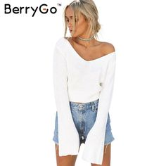 BerryGo Sexy White short knitted sweater women Autumn winter flare sleeve pullover 2016 Fashion off shoulder jumper pull femme