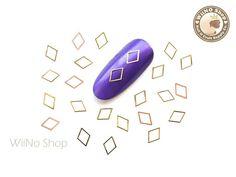 6 x 4mm Gold Diamond Shape Ultra Thin Metal Decoration Nail Art - 25 pcs