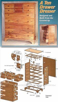 Drawer Dresser Plans - Furniture Plans and Projects   WoodArchivist.com