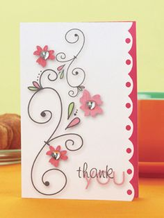 Flourish Thank You Card | June/July 2008 | Paper Crafts