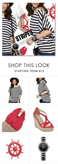 """""""Marine Layer: Striped Shirts"""" by svijetlana ❤ liked on Polyvore featuring polyvoreeditorial, stripedshirt and twinkledeals"""
