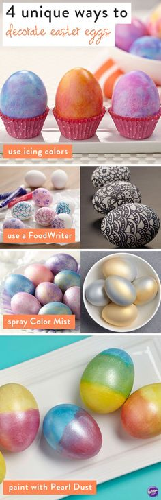 Tired of dunking your eggs in the same old cups of food coloring? Change things up this year! Check out these 4 unique ways to decorate Easter eggs with different Wilton products.