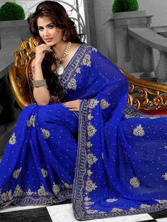 Royal #Blue Faux Chiffon #Saree with Blouse