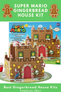 The princess is in another castle, but the fun is right here! This will definitely bring up sweet memories, while you build and decorate this gingerbread castle. This kit by Wilton contains everything you need for building and decorating: 4 pre-baked gingerbread panels, gingerbread mushroom cookie, 3 types of candy, 4 Candy Cup Holders, 3 character icing decorations, red and green fondant & white ready-to-use icing. #supermario #gingerbreadhouse #gingerbread #gingerbreadhousekit #mariobros Best Gingerbread House Kit, Gingerbread Cookie Mix, Cardboard Gingerbread House, Gingerbread Castle, Cool Gingerbread Houses, Classic Holiday Movies, Candy Castle, Pop Up Play, Icing Decorations