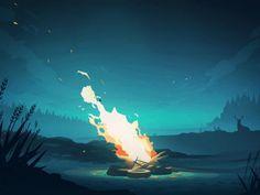 Fire, dark, night, details, illustration
