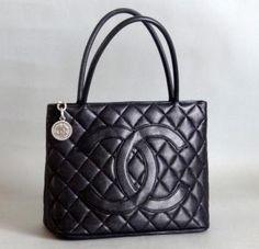 9a1be2fbcb Chanel Black Caviar Medallion Shopping Tote
