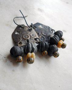 Beaded Earrings  Salvaged Metal Handmade Polymer by shipwreckdandy, $44.00