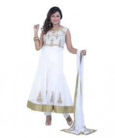 Off-white embroidered party anarkali kameez