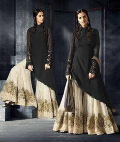 Buy Black Georgette Palazzo Style Suit 70938 online at lowest price from huge collection of salwar kameez at Indianclothstore.com.