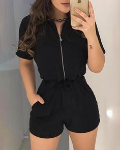 Shop Sexy Trending Rompers – Chic Me offers the best women's fashion Rompers deals Trend Fashion, Teen Fashion Outfits, Girl Outfits, Womens Fashion, Black Dress Outfits, Hot Outfits, Navy Dress, Grunge Fashion, Fashion Clothes