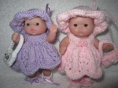 Knitting Pattern Berenguer Baby Doll Pretty Party Dress by WeGirls Baby Girl Dress Patterns, Baby Clothes Patterns, Baby Doll Clothes, Doll Patterns, Baby Dolls, Knitting Terms, Hand Knitting, Knitting Patterns, Crochet Patterns