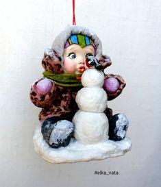 """Елочные игрушки из ваты и др. в Instagram: «"""" Первая зима"""". Ватная елочная игрушка, лицо и снегирь сделаны из глины, роспись акрилом. Высота игрушки 9 см, ширина в профиль - 7,5 см…» Christmas Decorations, Christmas Tree, Christmas Ornaments, Holiday Decor, Polymer Clay Dolls, Paper Mache, Holidays And Events, Wool Felt, Toys"""