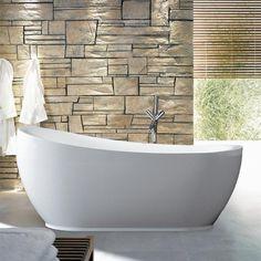 Large Alex Oval Bathtub - stone wall