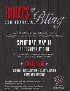 All About Equine Boots and Bling dinner, entertainment, music and auction event.