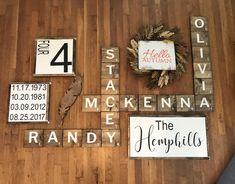 Half a Dozen Designs Scrabble Tile Art, Painted Signs, Custom Paint, Diningroom Decor, Wall Art, Primitive, Farmhouse, Living Room, Shop