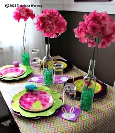 Using Wrapping Paper to Cover Tables - frugal table decor ideas.
