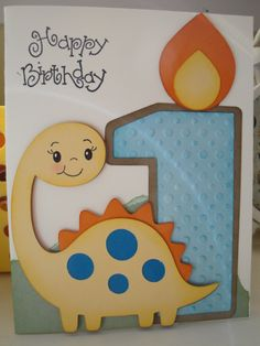 My Grandson's 1st birthday card using Create a Critter and Sweet Treats cricut cartridge