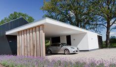 Moderne carport in landelijke setting Car Porch Design, Garage Design, House Design, Carport Modern, Timber Roof, Carport Garage, Carport Designs, Pole Barn Homes, Facade House