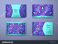 Vector Vintage Visiting Card Set. Floral Mandala Pattern And Ornaments. Oriental Design Layout. Islam, Arabic, Indian, Ottoman Motifs. Front Page And Back Page. - 383257660 : Shutterstock