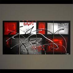 Moderne abstrait peinture rouge gris noir blanc acrylique peinture partiellement texturé 60 « x 30 » signé par Osnat - sur commande - 60 « x 30 »