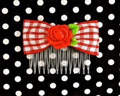 Rockabilly Country Red Rose & Gingham Hair Comb by PunkUpBettie, $9.00