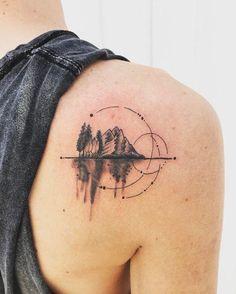 ▷ 1001 + ideas for original geometric tattoos - tattoo compass ideas for matu. - ▷ 1001 + ideas for original geometric tattoos – tattoo compass ideas for mature people who alw - Geometric Mountain Tattoo, Mountain Range Tattoo, Geometric Compass, Geometric Sleeve, Small Tattoos, Tattoos For Guys, Tattoos For Women, Tribal Tattoo Designs, Best Tattoo Designs