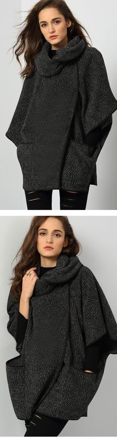 Love this chic and cozy Black Lapel Long Sleeve Contrast Trims Loose Coat!!!! Street style becomes so easy becasuae of the fashion style.