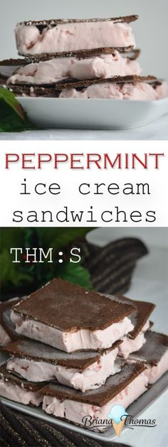 These yummy Peppermint Ice Cream Sandwiches are low carb, sugar free, THM:S, and gluten/egg/nut free! I love to have them on hand in the freezer! Sugar Free Desserts, Sugar Free Recipes, Low Carb Desserts, Dessert Recipes, Easy Desserts, Delicious Desserts, Peppermint Ice Cream, Low Carb Ice Cream, Sandwiches