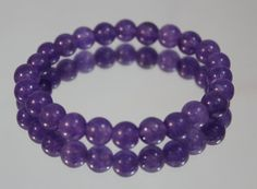 Genuine Purple Fluorite Gemstone Bead Bracelet, Gemstone Stretch Bracelet, Mens or Womens Bracelet, Natural Stone, Beaded Jewelry