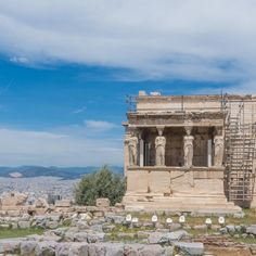 Erechtheion Ancient Greek Temple atop the Acropolis in Athens, Greece