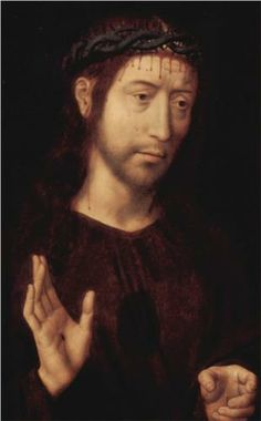 Christ Crowned with Thorns - Hans Memling.  c.1470.  Oil on panel.  52 x 32 cm.  Palazzo Bianco, Genoa, Italy.