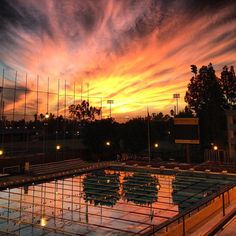 Beautiful sunset over the Lyon Center's pool.