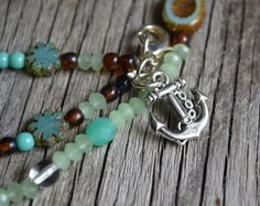 Beach Nautical Necklace Seafoam Jewelry Anchor by LOVEnLAVISH, $29.00