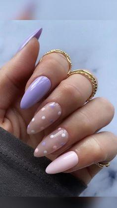 Nail Art Pastel, Pastel Pink Nails, Pastel Purple, Short Pink Nails, Light Purple Nails, Purple Acrylic Nails, Cute Short Nails, Chic Nails, Stylish Nails