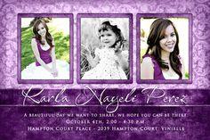 sweet 16 save the dates photo ideas | Beautiful Young Woman's Photo Invitation - Sweet 15 Purple