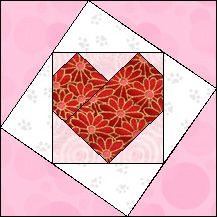 Block of Day for February 14, 2017 - Tilted Heart-strip-piecing-The pattern may be downloaded until: Tuesday, February 28, 2017.
