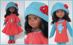 Puppenkleidung - 5 teilg. Set NORA - rot-türkis - ein Designerstück von MABE-la-Creativ-Kids bei DaWanda