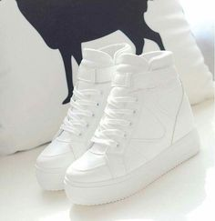 Wish they weren't white tho Sneakers Fashion, Fashion Shoes, Shoes Sneakers, Shoes Heels, Wedged Sneakers, Pretty Shoes, Beautiful Shoes, Sock Shoes, Shoe Boots