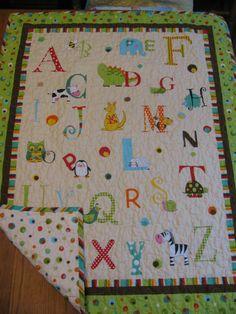 Vintage ABC Handmade Baby Quilt Blanket Comforter Wall Hanging ... : alphabet baby quilt pattern - Adamdwight.com