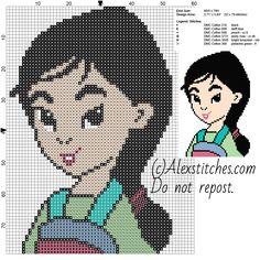 Little Mulan face princess Disney free cross stitch pattern 60x79 6 colors